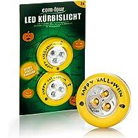 com-four® 2x LED-Licht für Halloween - Blinkende Kürbis LED Lichter für ausgehölte und geschnitzte Kürbisse - Kürbis…