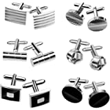 TUPARKA Cufflinks for Men, Fashionable Retro Striped Cuff Links Classic Tie Clips for Suit Shirt Wedding Business…