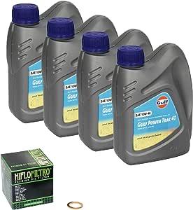 Gulf Power Trac 10w 40 Ölwechsel Set Suzuki Intruder M 800 Vz 800 Bj 05 13 Motoröl Hiflo Ölfilter Und Dichtring Auto