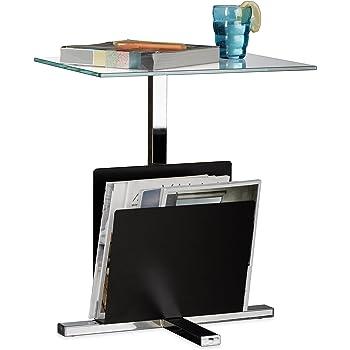Relaxdays 10020782 Table d appoint avec porte-revues plateau en verre métal  design moderne 516279d34b91