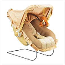 Toyshine 12-in-1 Delux Carry Cot Bouncer with Music (Brown)