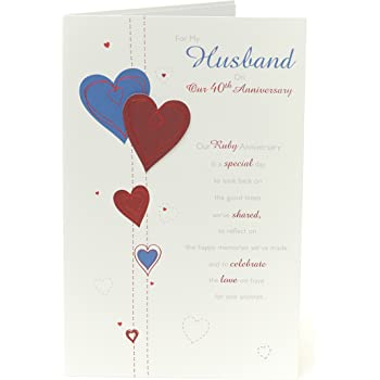 40th Wedding Anniversary Card Husband Ruby Wedding Anniversary