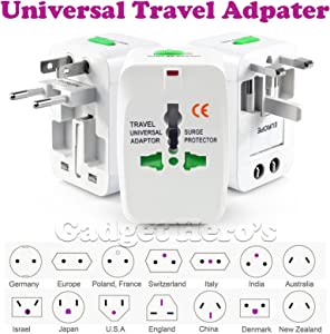 Gadget Hero's All in One Universal Power Adapter. Worldwide Travel Adaptor. Surge Protector.