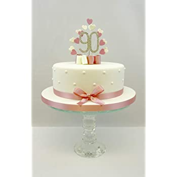 CAKE TOPPER HEART BURST SPRAY DIAMANTE 90TH BIRTHDAY VINTAGE PINK