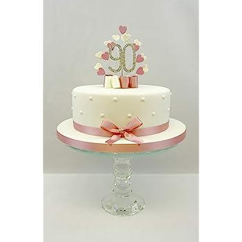 CAKE TOPPER HEART BURST SPRAY DIAMANTE 90TH BIRTHDAY VINTAGE PINK