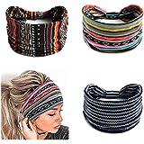 Zoestar, fascia per capelli stile boho, stile vintage con nodo a turbante a righe larghe e nere, da yoga, alla moda, per donn