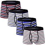 Aibrou Boxer Uomo in Cotone Fitted Slip Mutande Pantaloncini Intimo Elasticizzato Ragazzo Box Confezione Multipack da 4