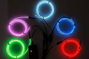 Lychee Flexibel 5x1 m Neon Beleuchtung Draht Lichtschlauch Leuchtschnur EL Kabel Wire mit 3 Modis für Partybeleuchtung(Mehrfarbig)