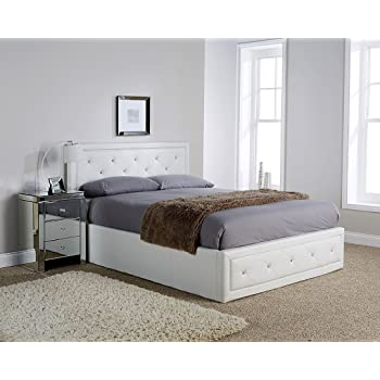 Hollywood Crystal Gas Lift Storage Bed 5ft King Size White Faux ...
