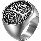 JewelryWe Gioielli Anello da Uomo in Acciaio Inossidabile, Albero della Vita, Colore Argento(con Borsa Regalo)