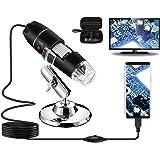 Microscopio Digital USB 40X a 1000X, Bysameyee 8 LED Cámara de endoscopio de Aumento con Estuche y Soporte de Metal, Compatib