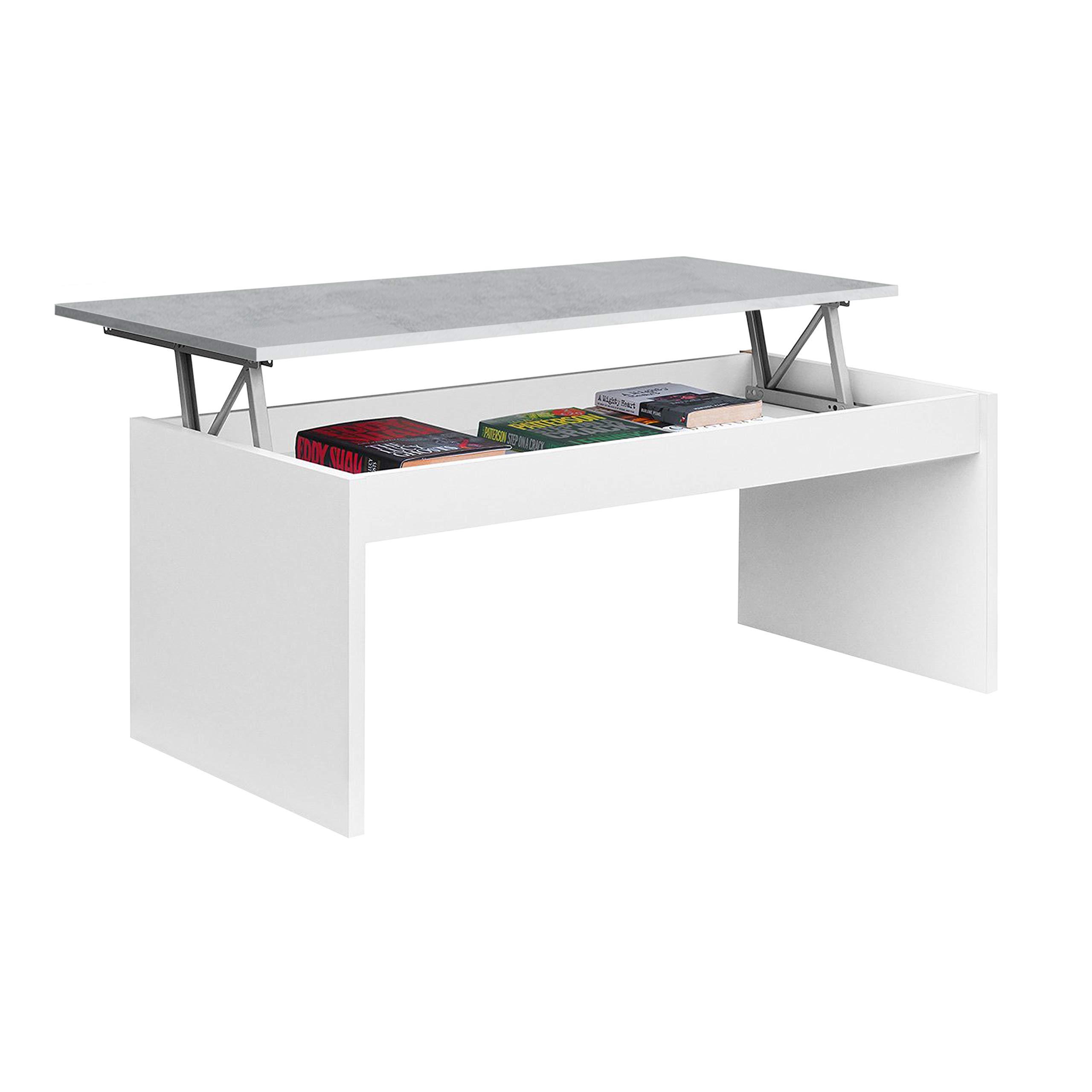 Habitdesign 6L6A- Table Basse modèle Zenit, Table pour Meuble de Salle à  Manger en Couleur Blanc Artik - Ciment