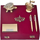JEWEL FUEL Gift Set of 2 Gold Plated Ball Pen, Business Card Holder, Fengshui Tortoise and Table Clock for Diwali Gift Items