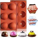 ATCRINICT Semi sfär silikonform, stor 6-hålig silikon chokladform, 2 paket förtjockande bakform för att göra varm chokladbomg