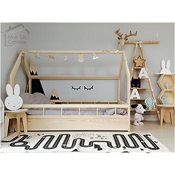 monlitcabane lit cabane h demie barri re 90x190 sommier. Black Bedroom Furniture Sets. Home Design Ideas
