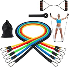 GOCART Latex 5 Different Levels Exercise Bands with Foam Handles and Carrying Bag for Men and Women