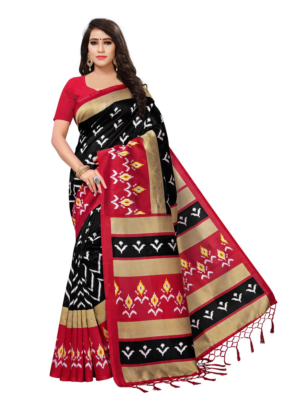 Kanchnar Women's Poly Silk Printed Daily Wear Saree