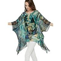 prettystern 100% Seta Poncho Tunica Kimono Camicetta Vestito dalla Spiaggia di Estate One Size Fits all