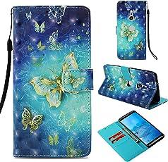 Shinyzone Flip Brieftasche Hülle für Sony Xperia XZ3,Gold Schmetterling 3D Bunt Gemälde 2 in 1 Buchstil Ledertasche mit Kartenfach und Magnetverschluss Standfunktion Handyhülle für Sony Xperia XZ3