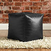 Hiputee Pouffee Foot Rest Stool Leatherette Bean Bag Cover (Without Beans) (16 x 16 inch, Black)