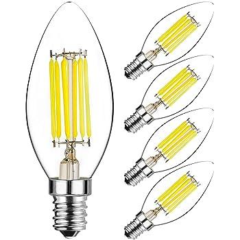Hzsane C35 E14 LED vela bombillas, 6W, 60W bombillas incandescentes equivalente, 6000K blanco