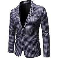 Allthemen Mens Casual Regular Fit Blazer Suit Jacket Plaid One Button Dress Blazer