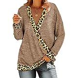 iMixCity Camicia da Donna con Scollo a V Profondo Top a Maniche Lunghe Casual Larghe con Stampa Patchwork Leopardata