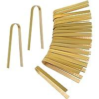 LUTER 20 Pièces Pinces en Bambou Jetables Ustensiles de Cuisine Pinces à Pain Pinces à Pain Naturel pour la Cuisine