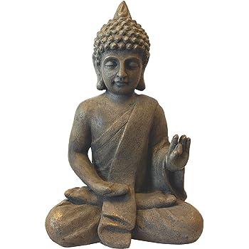 Multistore 2002 Deko Buddha sitzend H53cm Dekofigur Gartenfigur Steinfigur Skulptur Statue Buddhafigur Gartendekoration Buddhismus