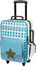 Lässig stabiler Kinder Reisekoffer/Kindertrolley mit separatem Schuh-/Wäschebeutel, Starlight olive