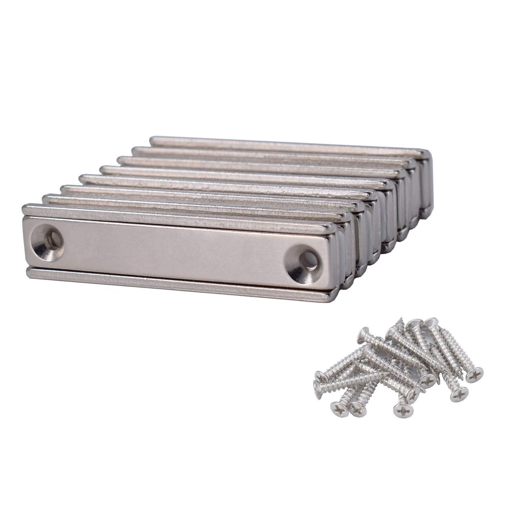 Strong Neodymium Rectangular Pot Magnets Counter Bore Countersunk Hole Mounting