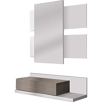 13Casa Aragona B01 Mobile Ingresso + Specchio, 75x29x20 H cm, Bianco, Faggio, Melamina