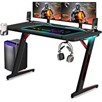 Huracan Bureau Gaming Table de Jeu PC Bureau Gamers Informatique Bureau d'ordinateur Gaming RGB Lampe avec Porte-Gobelet…