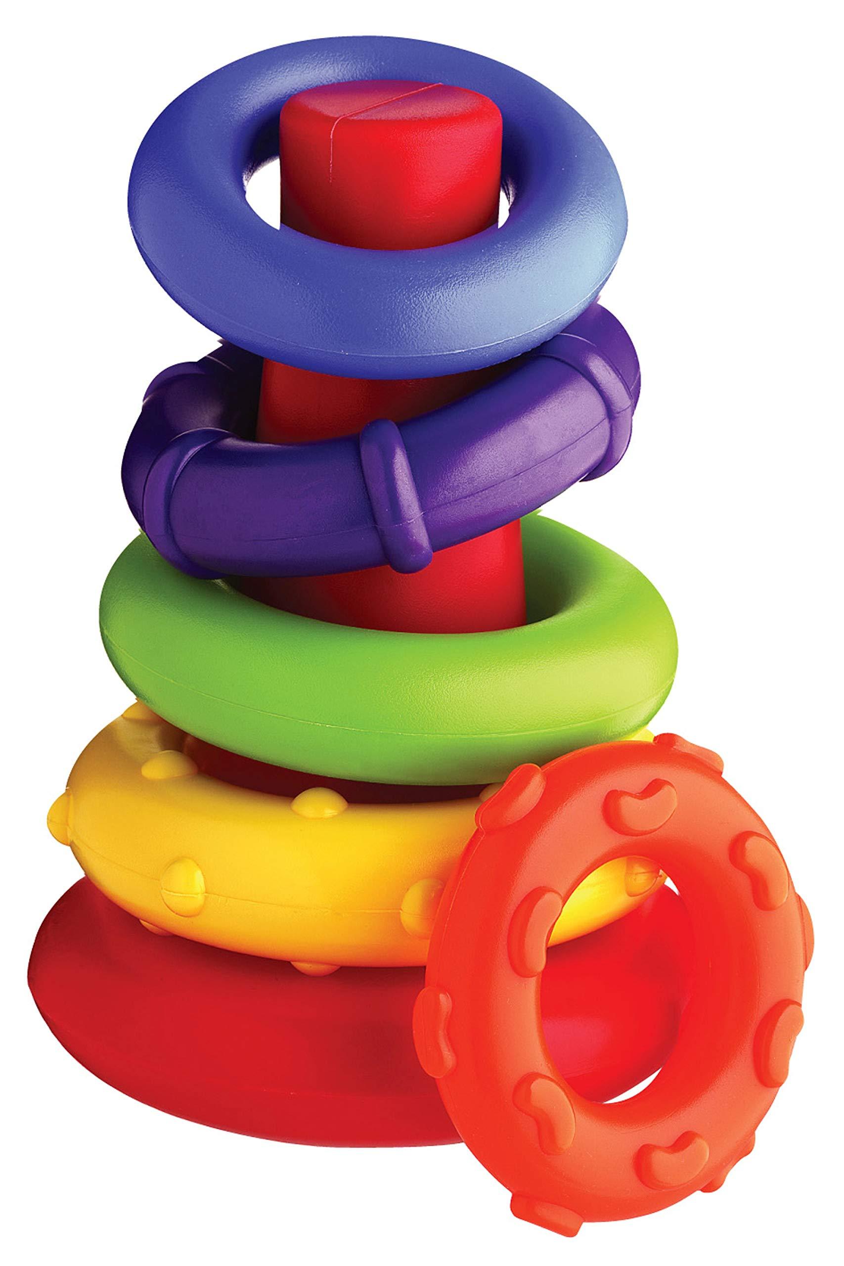 Playgro-40082 Pirámide Rock and Stack, Color Verde, Amarillo, Rojo, Lila, Naranja (4011455)