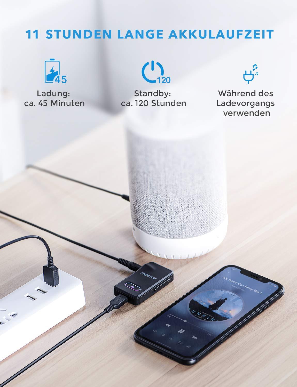 Mpow-Bluetooth-Empfnger-EINAUS-Taste-Bluetooth-Receiver-mit-Freisprecheinrichtung-Blutooth-KFZ-Set-fr-LautsprecherHeim-Stereoanlage-mit-35mm-Aux-Audio-Ausgang