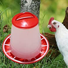 PETS EMPIRE Plastic Chicken Feeder with Handle, 3L (Red and White)