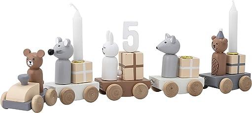 Bloomingville Kerzenhalter Kinder-Geburtstagszug Happy Birthday