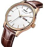 BUREI Herrenuhren Präzise Quarz Armbanduhren mit Tag und Datum Kalender Zifferblatt mit Weichem Lederband & Edelstahlband