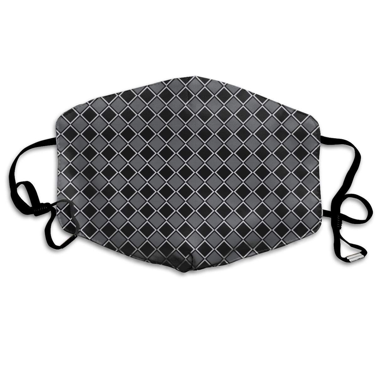 Daawqee Máscara de Boca, Black Square Pattern Adult Creative Mascarilla Washable Safety 100% Polyester Comfortable Breathable Health Half Face Masks