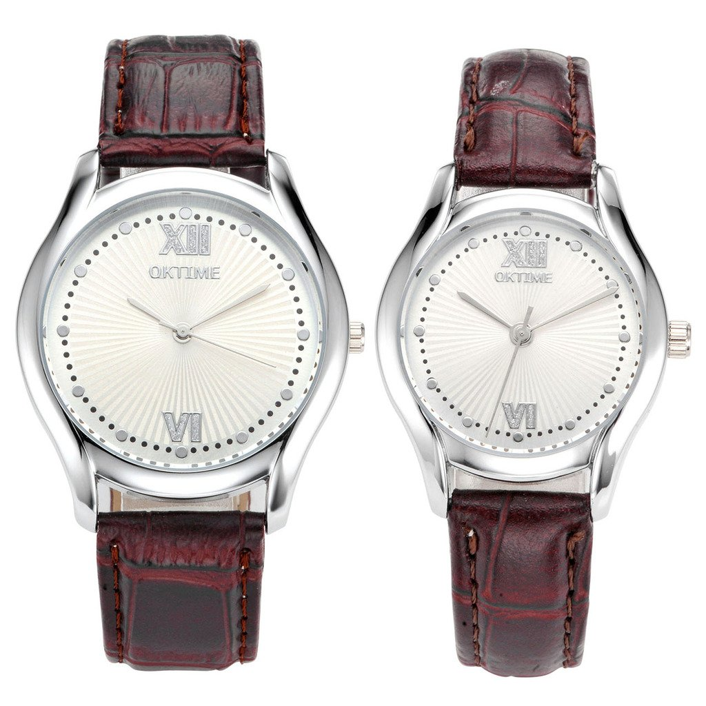 JSDDE Partner-Armbanduhr Einfaches Classic Armbanduhr Dunkelbraun Lederband Analog Qaurz Uhr Liebespaar Paaruhren Set 2x