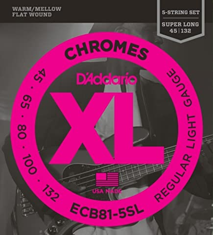 D'Addario Cordes pour basse 5 cordes D'Addario ECB81-5SL, Light, 45-132, cordes extra-longues