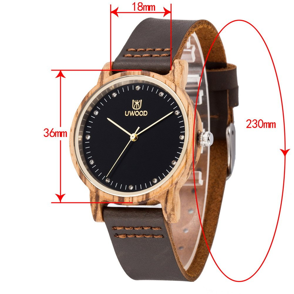 Uwood Bambus Uhr Holz Damen Analog Quarz Mit Leder Armband Amazon