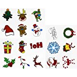 LUOEM 72 Christmas Holiday Temporary Tattoo Stickers Sheets Christmas Party Favors for Kids Adults