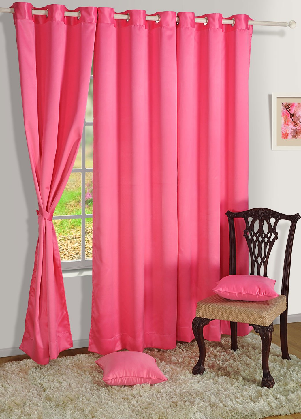 Hot pink curtains - Swayam Curtain Concept Premium Blackout Eyelit Faux Silk Door Curtain 48 X90 Pink Bld01 1010 Hot Pink Amazon In Home Kitchen