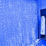 Eplze LED Rideau de Lumière 6m x 3m 600 LEDs Lumière LED Fée 8 Modes Commandables Résistant à l'eau Lumière Cordes pour Party de Noël Mariage Fête Décoration de Fenêtre (Bleu)
