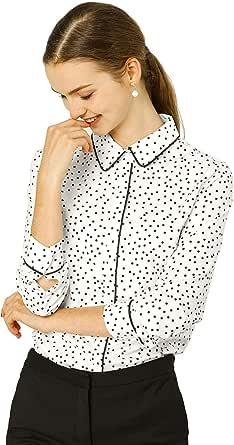 Allegra K A Maniche Lunghe Donna Collare Punto Pois Bottone sotto Camicia