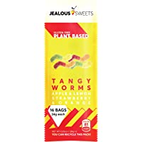 Jealous Sweets Vegan Sweets - Plant Based - Gluten Free - Natural Fruit Flavours (Tangy Worms: Apple, Lemon, Strawberry…