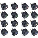 ZWOOS 16 Pcs Interruptor de palanca Coche 12V 20A Iluminado ON-OFF LED Interruptor Basculante Redondo