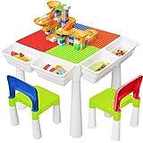 KORIMEFA Juego de Mesa y 2 Sillas Infantiles Mesa de Mesa de Actividades Multiusos Compatible 5 en 1 para niños Mesa de const