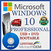MS Windows 10 Professional Licence de Vente au Détail | Par le Conducteur USB et DVD | Avec facture | 64 bits | Installation Automatique est Prêt Pour le Démarrage | Langue : Français |
